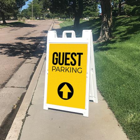 Yellow Dots Guest Parking Street Sign