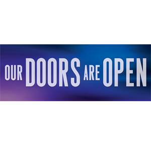 our doors are open banner