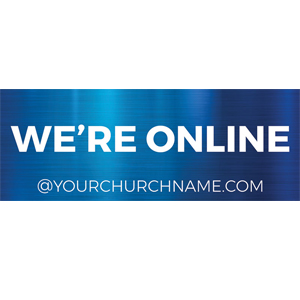 we're online blue banner