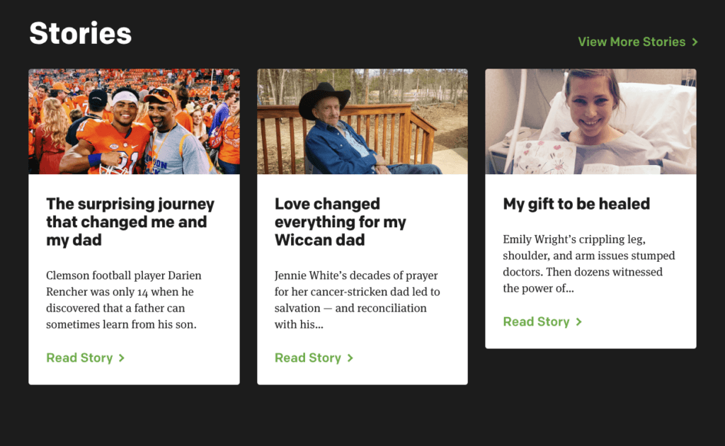 Best Church Websites Example: Stories